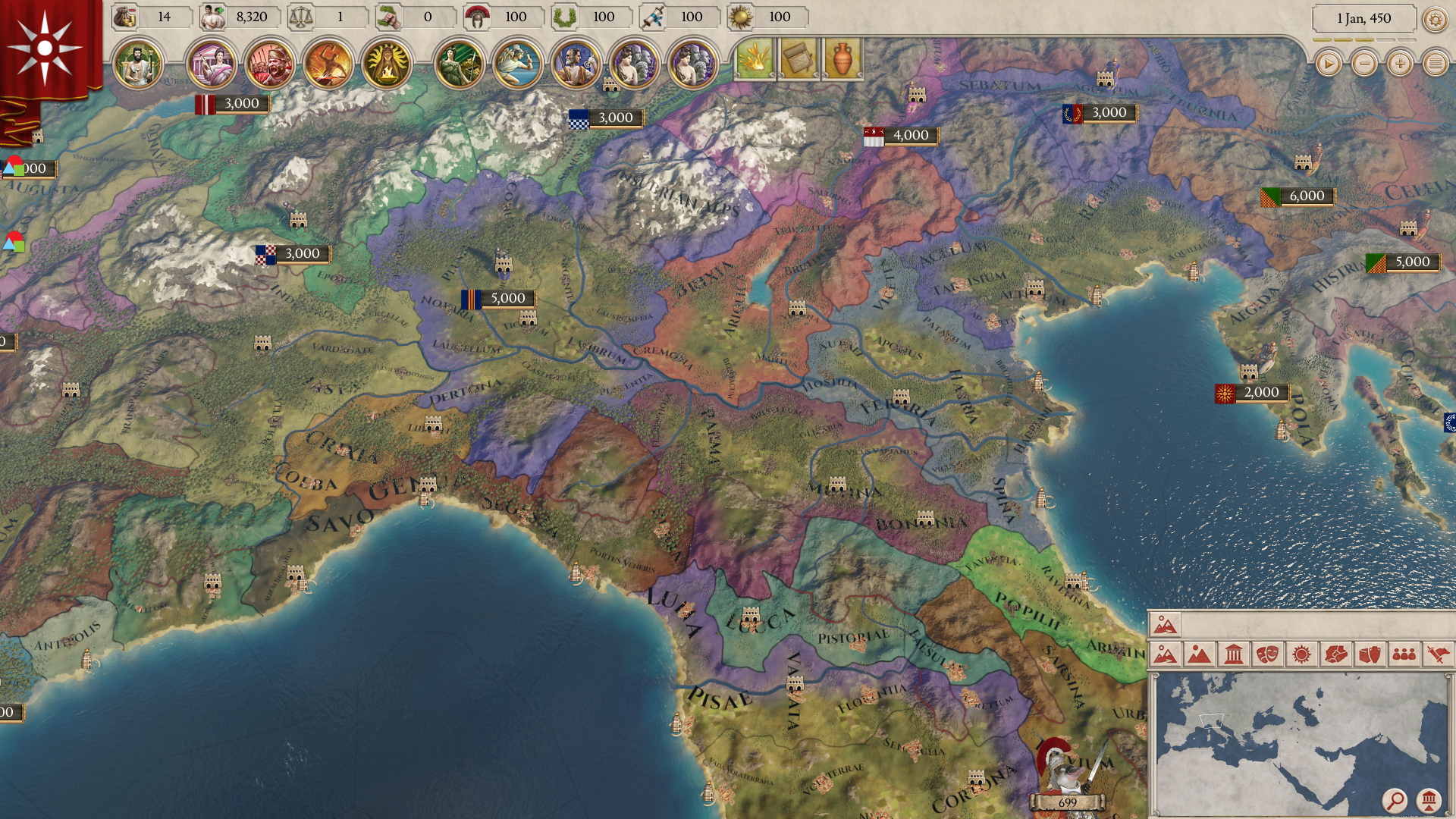 Map Of Italy With Mountains.The Map Aesthetics In Imperator Rome Seem To On A Whole New Level