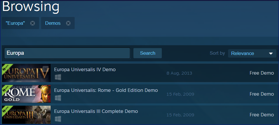 Cant find DEMO, not available on STEAM  | Paradox